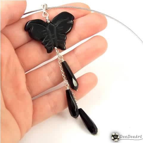 Czarny motyl - wisiorek